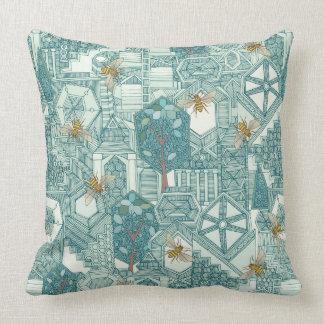 hexagon city throw pillow