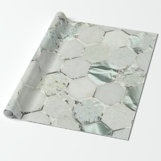 Hexagon Mint Tiffany Aqua Silver Marble Shiny Wrapping Paper