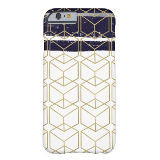 Hexagon Modern Navy Blue Gold Geometric Glam Barely There iPhone 6 Case