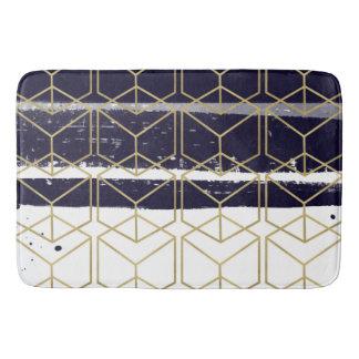 Hexagon Modern Navy Blue Gold Geometric Glam Bath Mat