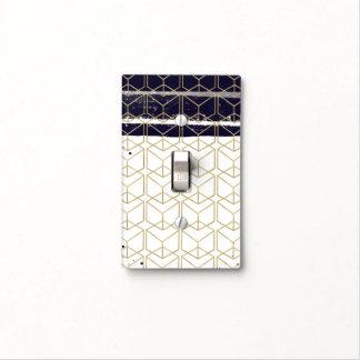 Hexagon Modern Navy Blue Gold Geometric Glam Light Switch Cover