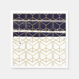 Hexagon Modern Navy Blue Gold Geometric Glam Party Paper Napkin