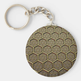 Hexagon Pattern Basic Round Button Keychain