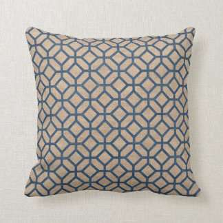 Hexagon Pattern Denim Blue and Tan Throw Pillow