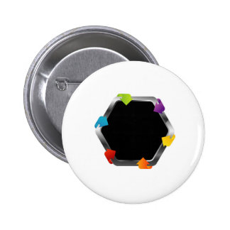 Hexagon with colorful arrows 2 inch round button