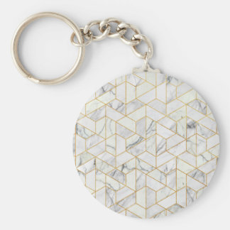 Hexagonal geometric marble basic round button keychain