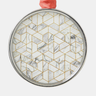Hexagonal geometric marble Silver-Colored round ornament