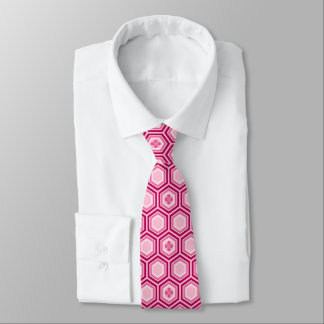 Hexagonal Kimono Print, Burgundy and Pink Tie