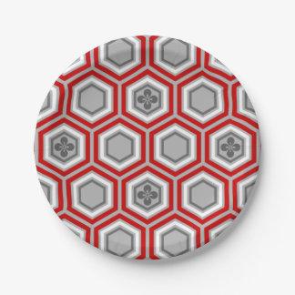 Hexagonal Kimono Print, Red and Gray / Grey Paper Plate