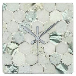 Hexagone Aqua Tiffany Mint Metallic Marble Honecom Square Wall Clock