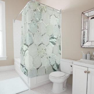 Hexagone Marble Mint Aqua Metallic White Gray