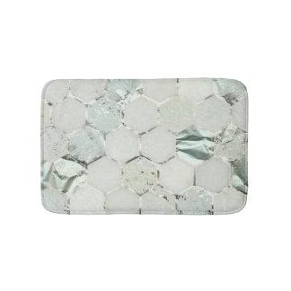 Hexagone Mint Green Aqua Marble Metallic Tiffany Bath Mat
