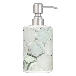 Hexagone Mint Green Aqua Marble Metallic Tiffany Soap Dispenser And Toothbrush Holder