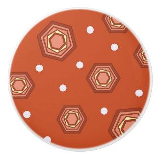 Hexagons Burnt Orange Ceramic Pull Knob Ceramic Knob