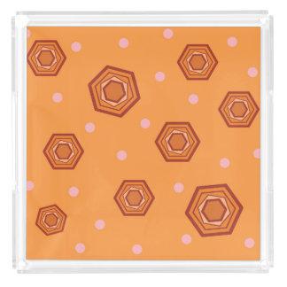 Hexagons Sherbet Orange Serving Tray