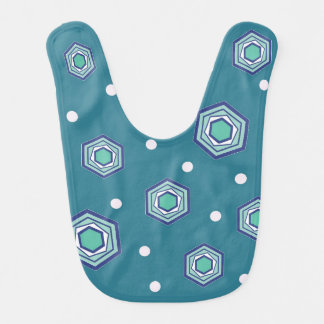 Hexagons Teal Baby Bib