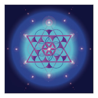 Hexagram, flower Sacred geometry ultra violet blue Poster