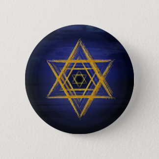 Hexagram gold & blue sacred geometric symbol 2 inch round button