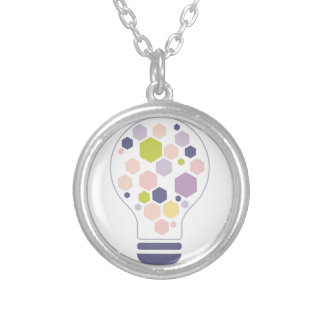Hexahedrons Inside Idea Bulb Abstract Design Paste Silver Plated Necklace