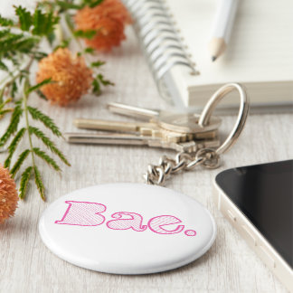 Hey Bae. girlfriend boyfriend slang Keychain