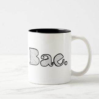Hey Bae. girlfriend boyfriend slang Two-Tone Coffee Mug