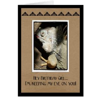 Hey Birthday Girl!-Iguana Humor Card