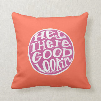 Hey Good Looking in Peach and Purple Lettering Throw Pillow