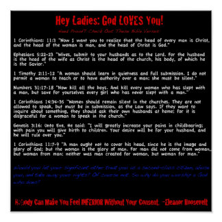 Hey Ladies: God Loves You (sarcastic) Poster