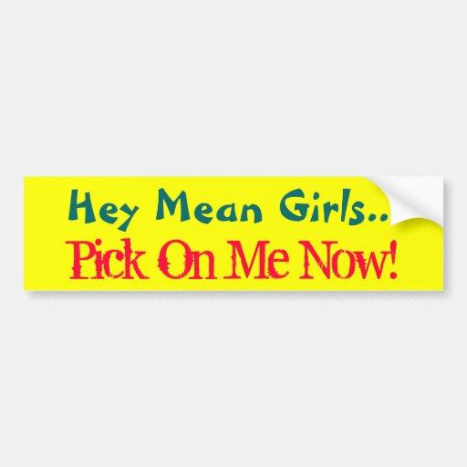 Hey Mean Girls..., Pick On Me Now!-Bumper Sticker