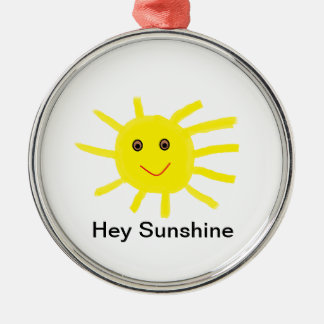 Hey Sunshine Silver-Colored Round Ornament