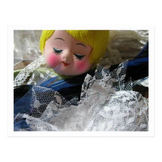 Hey ! vintage doll face postcard