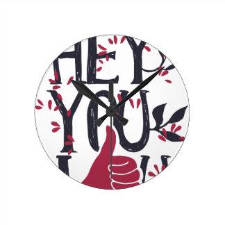 Hey you i LOVE YOU Round Clock