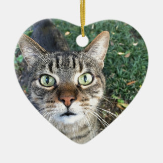 """""""Hey You"""" says this cat Ceramic Heart Ornament"""