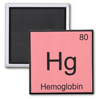 Hg - Hemoglobin Chemistry Element Symbol Blood Tee Square Magnet
