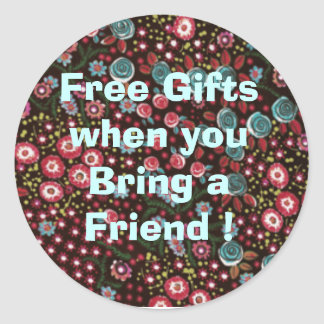 HH387_Blackfloralsateen, Free Gifts when you Br... Classic Round Sticker