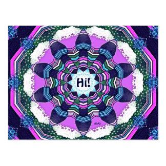 Hi Blue Pink Purple Mandala Postcard