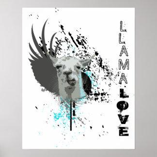 hi-fi llama. llama love. poster