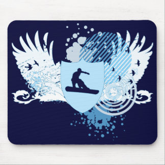 hi-fi snowboarding. traced in blue. mouse pad