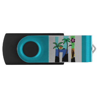 HI Hawaii Ocean Sunset Palm Trees Blue Multi Color Swivel USB 2.0 Flash Drive
