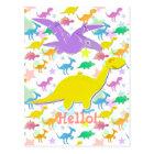 Hi Hello Colour Dinosaurs Cartoon Postcard