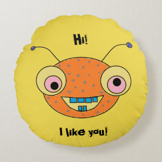 Hi I like you Cute Smiley Monster Alien Reversible Round Pillow