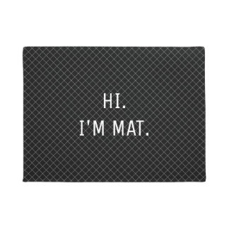 Hi Im Mat Funny Black Checkered Entrance Door Mat