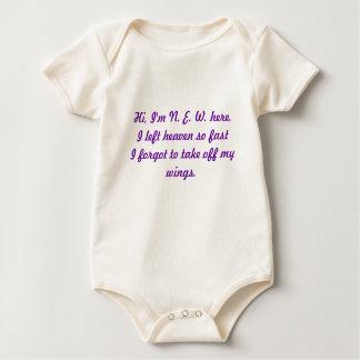 Hi, I'm N. E. W. here.I left heaven so fast I f... Baby Bodysuit