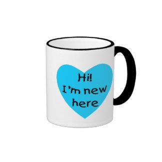 Hi! I'm new here (blue) Coffee Mugs