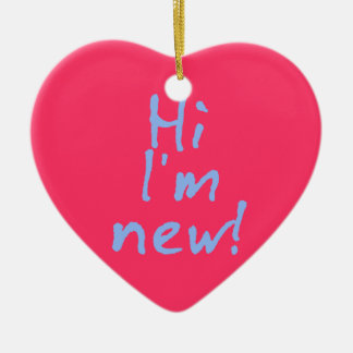 Hi Im New! in Baby Blue Ceramic Heart Ornament