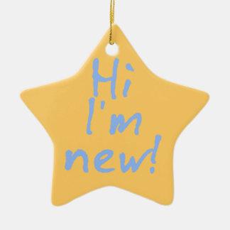 Hi Im New! in Baby Blue Ceramic Star Ornament