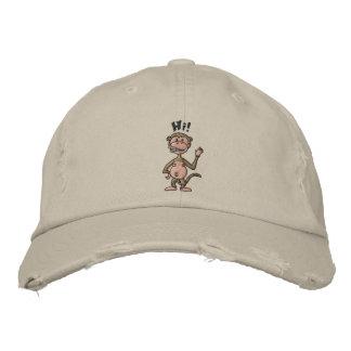 Hi! Monkey (black outline) Embroidered Hat