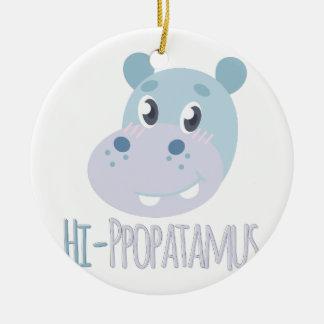 Hi-ppopatamus Round Ceramic Ornament
