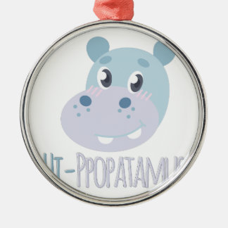 Hi-ppopatamus Silver-Colored Round Ornament