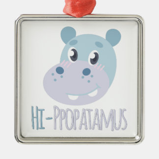 Hi-ppopatamus Silver-Colored Square Ornament